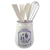 Suport cu ustensile pentru gatit incluse, Kasemi, ceramica + lemn + inox, decor lavanda, set 5 bucati