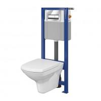 Pachet rezervor apa, incastrat, Cersanit Carina NCO S701-063, vas WC, capac si clapeta actionare incluse