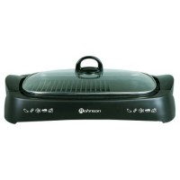 Gratar electric Rohnson R257, 2000 W, plita tip grill neaderenta, capac de sticla, termostat reglabil, tava colectare grasime detasabila, element incalzire sigilat, negru