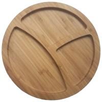 Tava rotunda pentru servire, din bambus,  HB-2050, 25.4 x 1.9 cm
