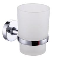 Pahar baie pentru igiena personala, cu suport, Iobagno Alfa AC1505, sticla, 9.5 x 6.5 x 10 cm
