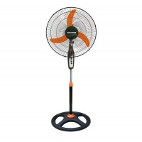 Ventilator cu picior Albatros V45B, 60 W, 3 viteze, diametru 45 cm, negru cu portocaliu