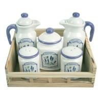 Set pentru depozitare condimente, Kasemi, ceramica, decor lavanda, 5 bucati