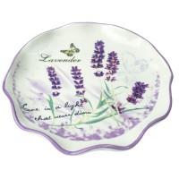 Tava asimetrica pentru servit, din ceramica, Kasemi, decor lavanda, 25.5 x 4 cm