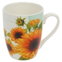 Cana EP3513, portelan, alba + model floral multicolor, 300 ml