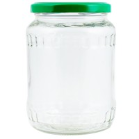 Borcan cu capac, sticla transparenta, 720 ml