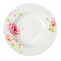 Farfurie adanca GX1, portelan, alb + model floral multicolor, 21 cm