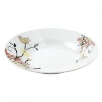 Farfurie adanca GX2, portelan, alb + model floral multicolor, 20 cm