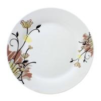 Farfurie desert GX2, portelan, alb + model floral multicolor, 19 cm