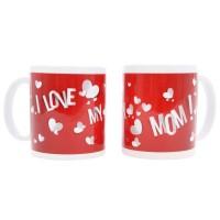 Cana cu mesaj I love my mom, ceramica, alb + rosu, 250 ml