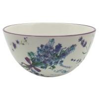 Bol pentru servirea mesei HC1A09-P114, ceramica, alb + mov + albastru, 13.3 x 7.3 cm, 450 ml