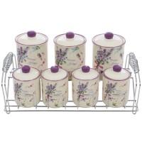 Recipiente pentru bucatarie + suport HC3D01C+3D01D-P114, ceramica + metal, set 7 bucati