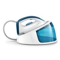 Statie de calcat Philips FastCare Compact GC6709/20, 2400 W, 1.3 l, 200 g/min, talpa ceramica, jet de abur, presiune 5.2 bari, Smart Calc Clean, generator de abur ProVelocity, alb + albastru