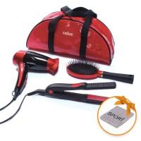 Uscator de par Medicura ARM 350, 1200 W + placa de par, invelis ceramic + perie par + borseta, rosu + negru