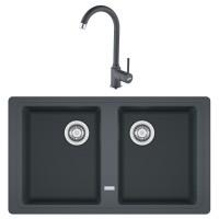 Chiuveta bucatarie compozit fragranite Franke BFG 620 GF grafite neagra cuva stanga / dreapta 86 x 50 cm + baterie Pola neagra