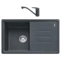 Chiuveta bucatarie compozit fragranite Franke BSG 611-78 grafite neagra cuva stanga / dreapta 78 x 50 cm + baterie Novara Plus monocomanda grafite neagra