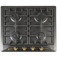 Plita pe gaz incorporabila Studio Casa Toscana PG660 Black, 4 arzatoare, aprindere electrica, dispozitiv siguranta arzatoare, duze pentru GPL, negru