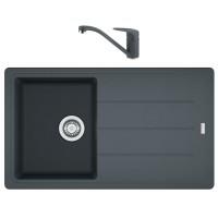 Chiuveta bucatarie compozit fragranite Franke BFG 611-86 grafite neagra cuva stanga / dreapta 86 x 50 cm + baterie Novara Plus monocomanda neagra