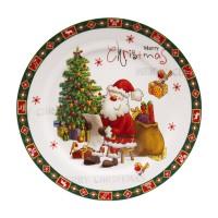 Farfurie desert HC807-H64, ceramica, alb + model Craciun multicolor, 20.2 cm