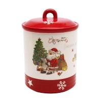 Recipient pentru bucatarie HC3303-H64, 1300 ml, alb + rosu, model Craciun, ceramica, 18.5 x 13 cm