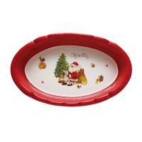 Platou HC8144A-H64, forma ovala, ceramica, rosu + alb, model Craciun, 39 x 23 cm
