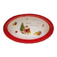 Platou HC8144B-H64, forma ovala, ceramica, rosu + alb, model Craciun, 28 x 17 cm