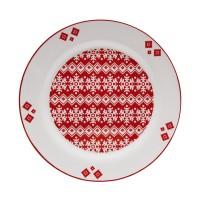 Farfurie desert HC807-N1, ceramica, alb + rosu, model Craciun, 20.2 cm