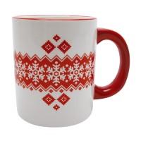 Cana HC118-N1, ceramica, alb + rosu, model Craciun, 300 ml
