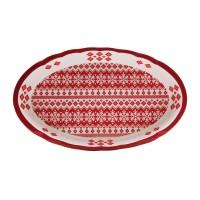 Platou HC8144A-N1, forma ovala, ceramica, alb + rosu, model Craciun, 39 x 23 cm