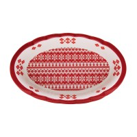 Platou HC8144B-N1, forma ovala, ceramica, alb + rosu, model Craciun, 28 x 17 cm