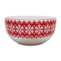 Bol pentru servirea mesei HC141R-N1, ceramica, model Craciun, alb + rosu, 13.7 x 6.6 cm