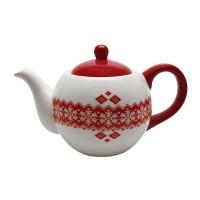 Ceainic HC724-N1, ceramica, alb + rosu, model Craciun, 13.5 x 22.5 x 14.4 cm, 950 ml