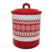 Recipient pentru bucatarie HC3303-N1, 1300 ml, rosu + alb, model Craciun, ceramica, 18.5 x 13 cm