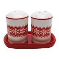 Solnite sare + piper, HC423R-N1, ceramica, alb + rosu, 6.7 x 4.5 cm