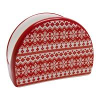 Suport pentru servetele HC4112-N1, ceramica, model Craciun, 9.8 x 4.4 x 7.3 cm, rosu + alb