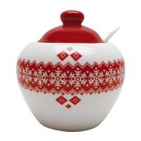 Recipient pentru bucatarie HC2020-N1, 380 ml, alb + rosu, model Craciun, ceramica, 11.4 x 10.4 cm