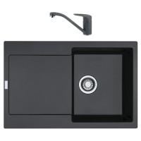 Chiuveta bucatarie compozit fragranite Franke MRG 611-78 grafite neagra cuva stanga / dreapta 78 x 50 cm + baterie Novara Plus monocomanda grafite neagra