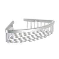 Etajera pentru baie din aluminiu, Ice, montaj pe colt, 30 x 22 x 6.5 cm