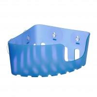 Etajera pentru baie, plastic, S42033, bleu, montaj pe colt, cu ventuze, 20 x 20 x 11 cm