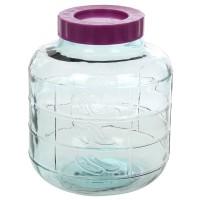 Borcan 10 litri, gura larga, capac cu filet, sticla, transparent