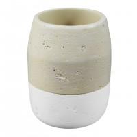 Pahar baie pentru igiena personala, , Flinstone BPO-1578C, polirasina, alb + crem, 8 x 10.5 cm