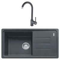Chiuveta bucatarie compozit fragranite Franke BSG 611-78 grafite neagra cuva stanga / dreapta 78 x 43.5 cm + baterie Pola monocomanda neagra