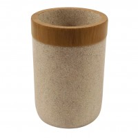 Pahar baie pentru igiena personala, Stone Bamboo BPO-2624C, polirasina, maro, 7.5 x 10.5 cm