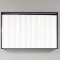 Dulap baie cu oglinda si iluminare, 3 usi, Arthema Push 2101PU-AN3, antracit perlat, 100 x 22 x 63.6 cm