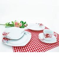 Set farfurii EP3072, portelan, alb + rosu + roz, 30 piese