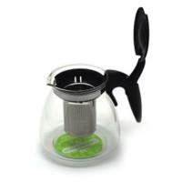 Ceainic D1021, sticla, transparent + negru, 700 ml