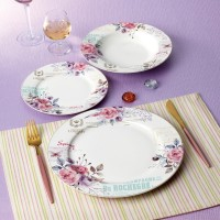 Set farfurii SHS8795, portelan, violet + bleu + model floral, 18 piese
