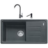 Chiuveta bucatarie compozit fragranite Franke BSG 611-78 grafite neagra cuva stanga / dreapta 78 x 43.5 cm + baterie Pola monocomanda neagra + dozator detergent lichid negru
