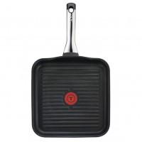 Tigaie grill Tefal Talent Pro C6214052, 26 x 26 cm, aluminiu, indicator de temperatura Thermo Spot, negru