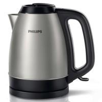 Fierbator de apa electric Philips HD9305/21, 2200 W, 1.5 l, otel inoxidabil, capac cu balamale complet detasabil, filtru anti-calcar, sistem depozitare cablu, element de incalzire plat, argintiu + negru